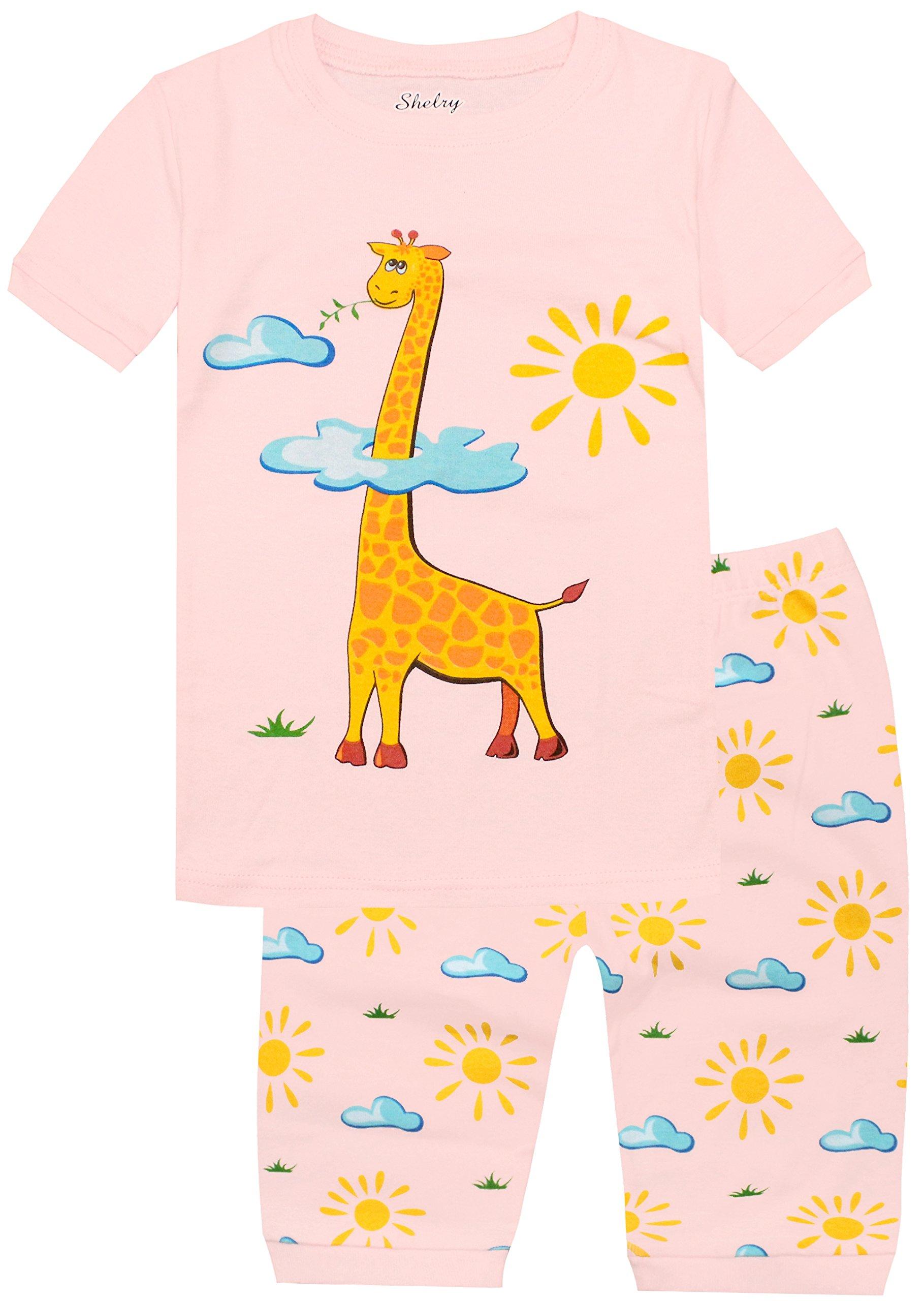 Girls Pajamas Children Toddler Kids Pink Giraffe Sleepwear 100% Cotton Short Set Size 8