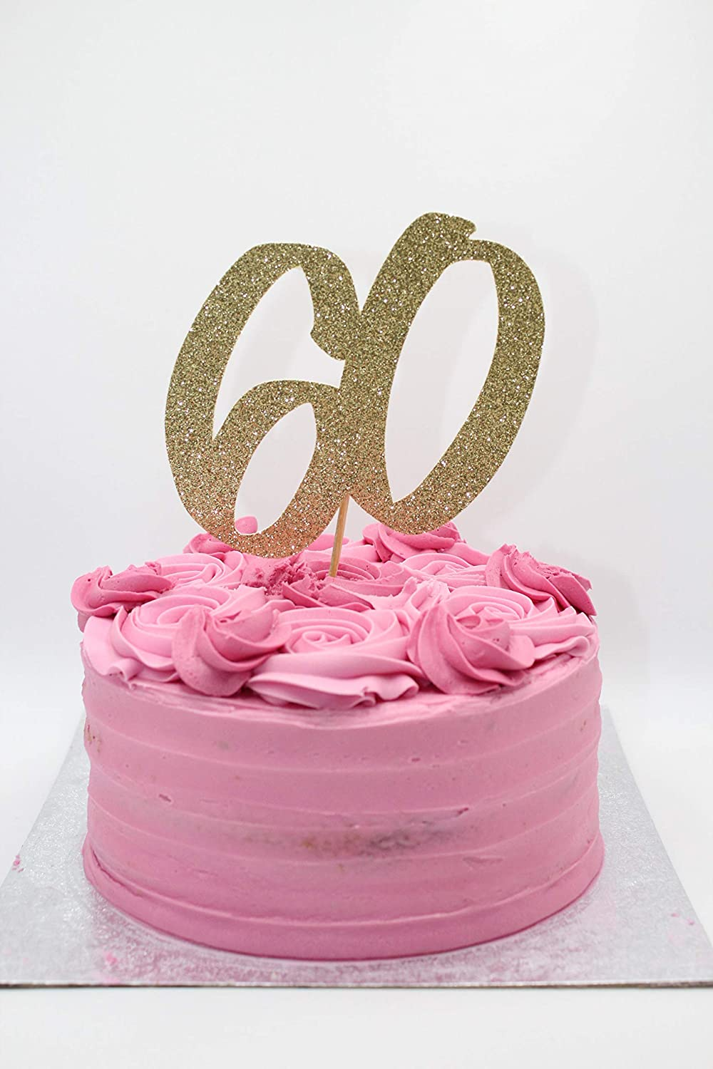 Large 60 Gold Glitter Card Cake Topper Cake Decorations