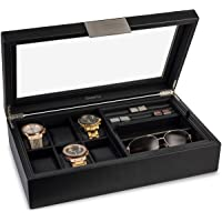 Glenor Co Valet Jewelry Box for Men - Holds 6 Watches, 18 cufflinks, 2 Sunglasses & Tray Storage - Mens Watch Case…