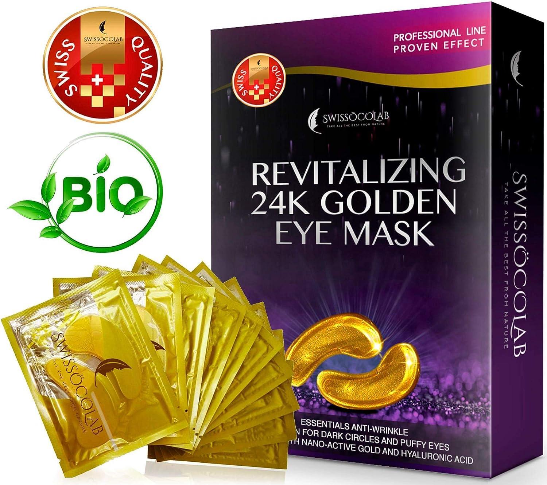 Eye Pads 24k Gold Eye Mask Anti-Aging Hyaluronic Acid Eye Patches Under Eye Mask for Moisturizing & Reducing Dark Circles Puffiness Wrinkles Eye Gel Pads from Puffy Eyes Collagen Eye Pads SWISSÖKOLAB