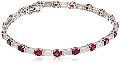 422a29e4448f8 Platinum Plated Sterling Silver Swarovski Zirconia Clear Baguette and  Created Ruby Round Tennis Bracelet