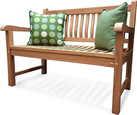 ATLANTIS - Banco de jardín para exteriores Comfort Plus, 4 plazas, 180 cm, de madera de teca maciza, resistente a la intemperie, aspecto clásico (para jardín): Amazon.es: Jardín