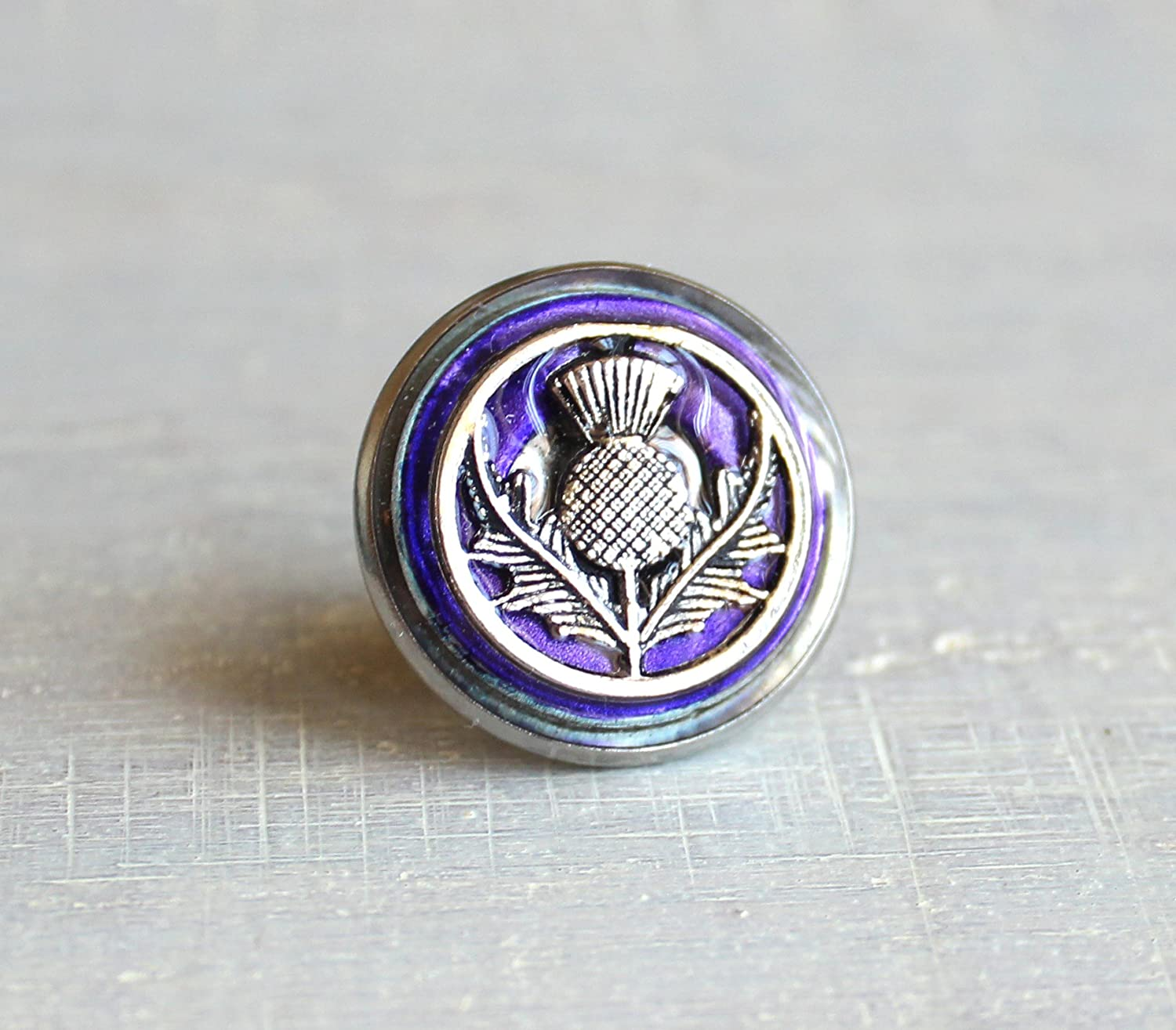Purple Scottish thistle tie tack / lapel pin.