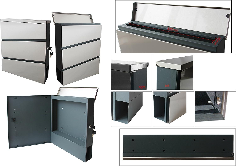 Designer Letter Box with Newspaper Holder Stainless Steel Anrhrazit Grey RAL7016/333SD AE Slim Newspaper Holder Post Box Letter Box