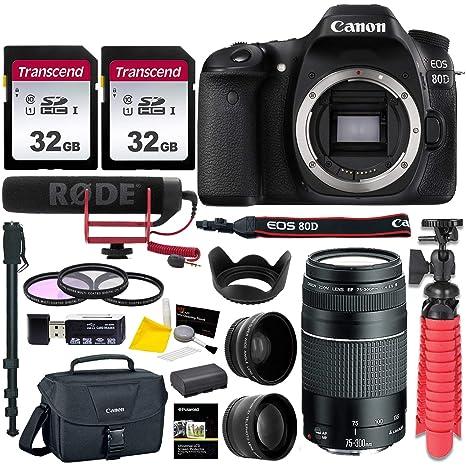 Canon EOS 80D DSLR Camera Body, Canon 75-300 mm III Lente, Rode ...