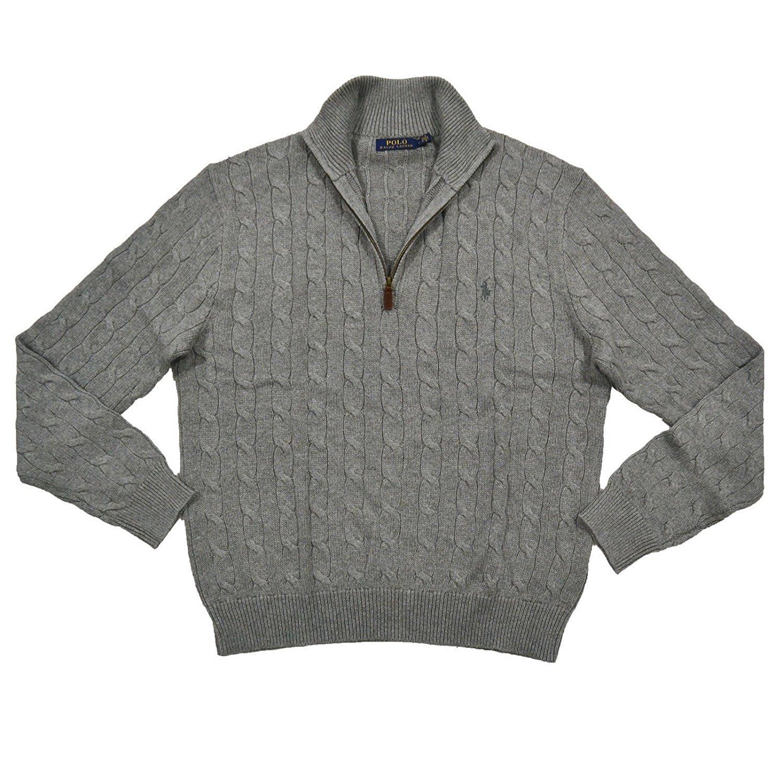 Polo Ralph Lauren Men's 1/3 Zip Cotton Cable Sweater (XXL, Grey)
