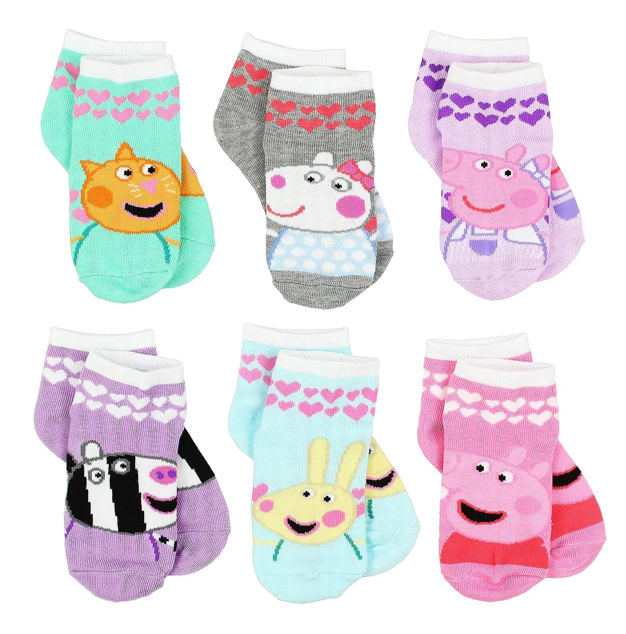 Peppa Pig Girls 6 pack Socks (2-4 Toddler (Shoe: 4-7), Friends Quarter Multi)