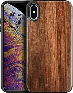 E-Began Case for iPhone Xs Max, [Real Natural Walnut Wood], Ultra Slim Protective Bumper Shockproof Phone Case for iPhone Xs Max 6.5 inch (2018) (Every Piece is Unique) -Wood