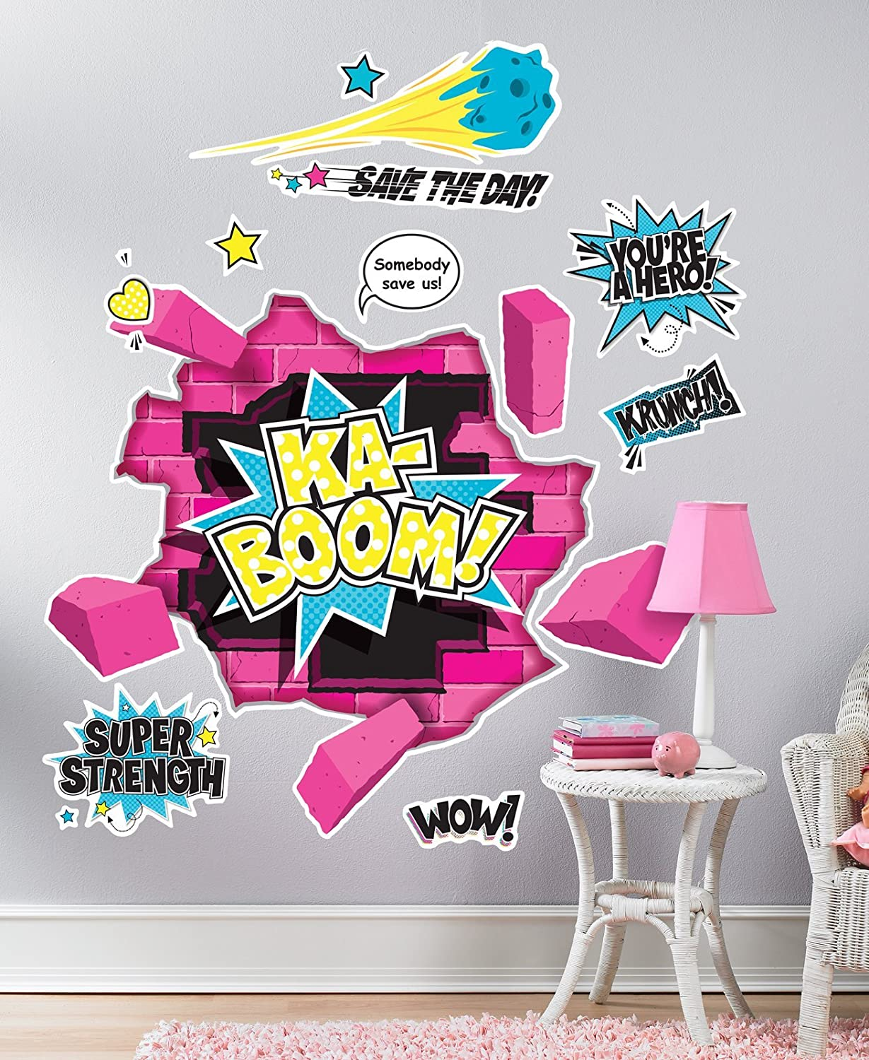 Superhero girl room decor giant wall decals amazon amipublicfo Images