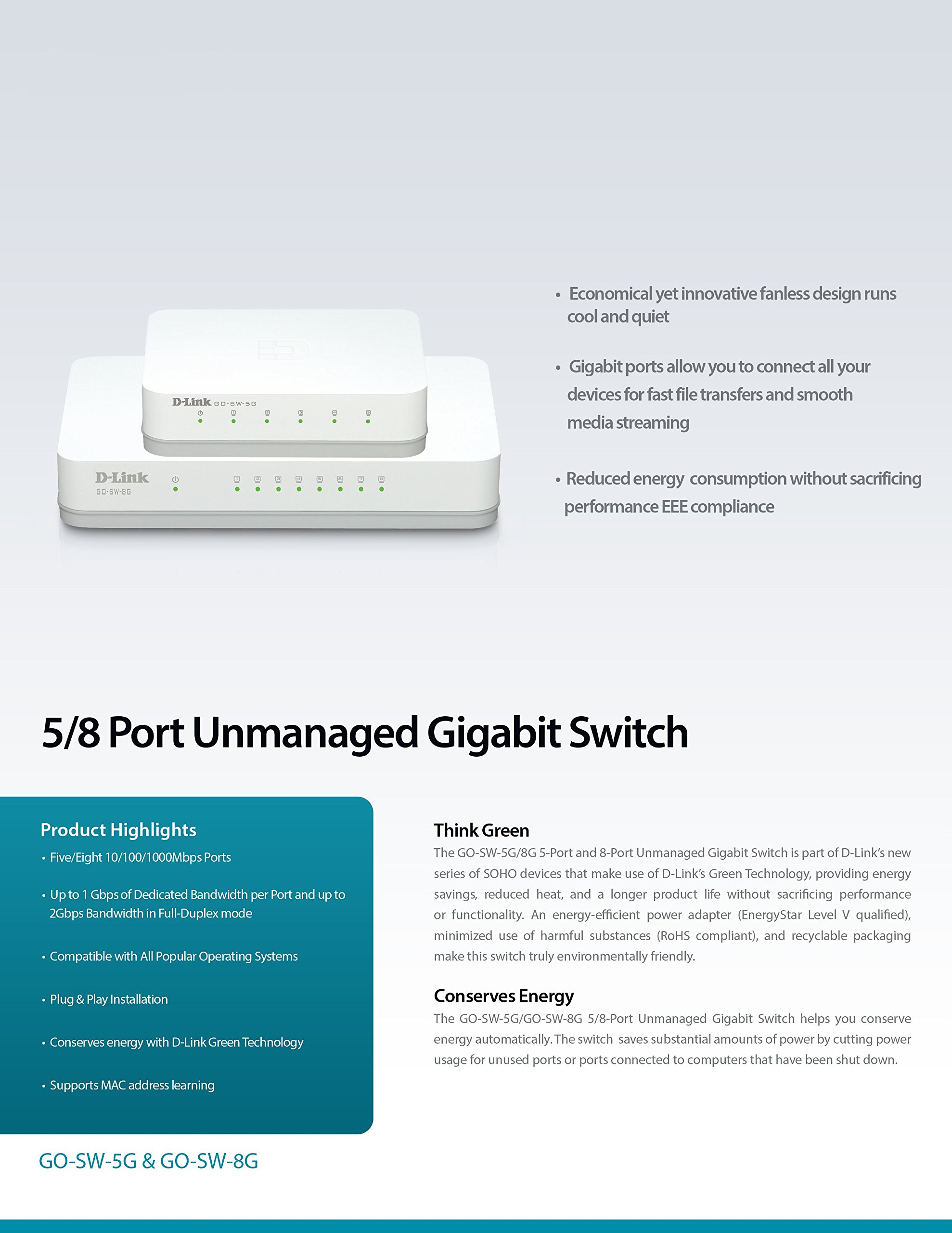 D-Link 5-Port Unmanaged Gigabit Switch (GO-SW-5G) by D-Link (Image #6)