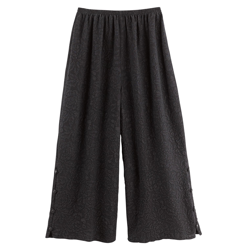CATALOG CLASSICS Women's Wide-Legged Flood Pants - 100% Silk Textured Floral Pattern - Medium