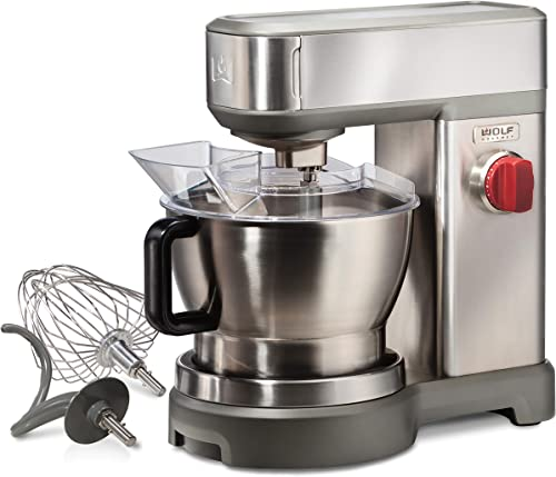 Wolf Gourmet High-Performance Stand Mixer, 7 qrt, with Flat Beater, Dough Hook and Whisk, Brushed Stainless Steel