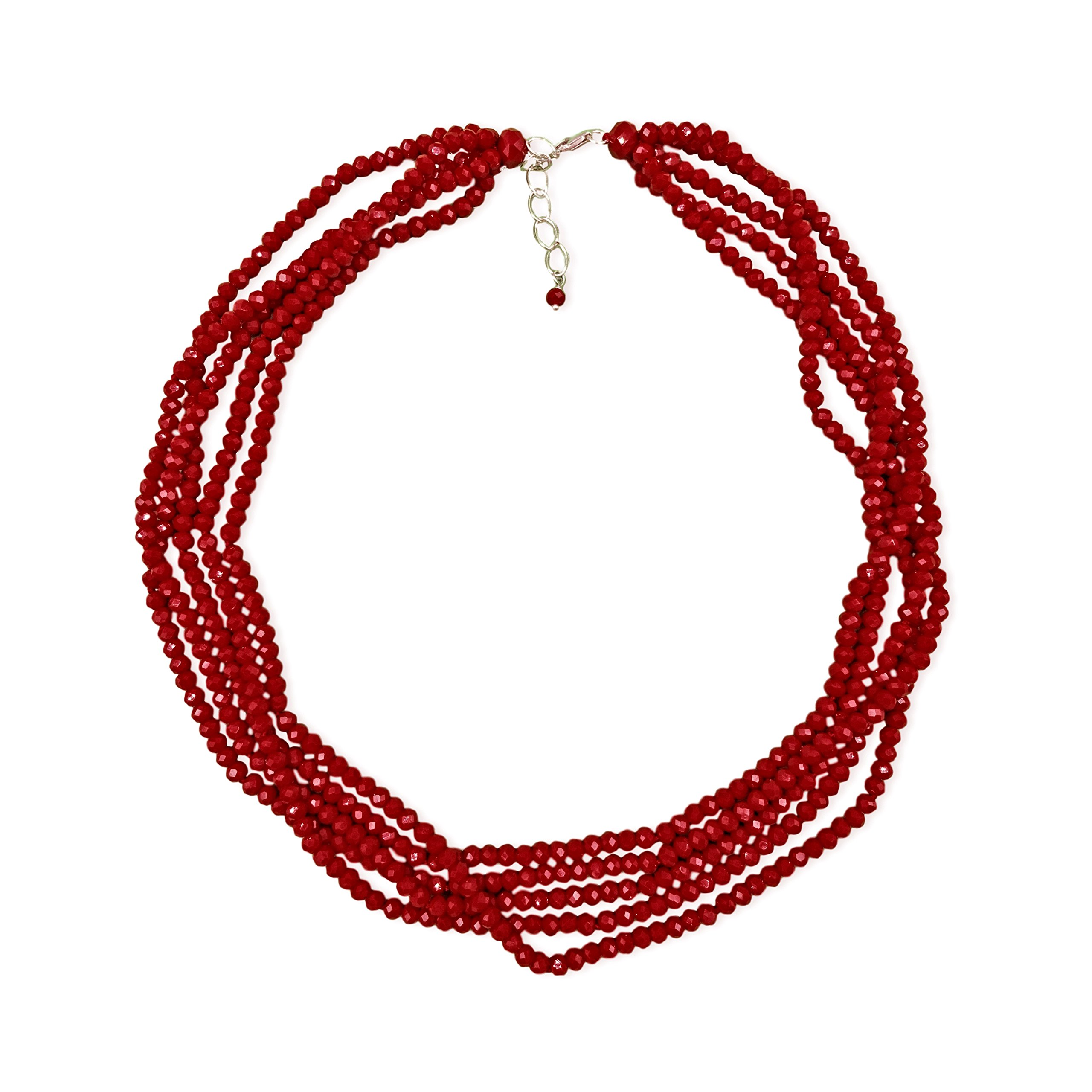 MGR Short Multi-Strand Layered Bib Collar Statement Beaded Crystal Necklace in Garnet Red.