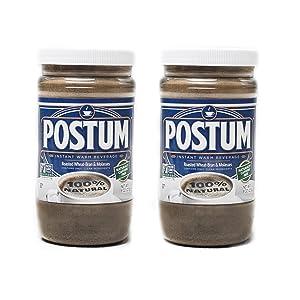 Postum Wheat Bran & Molasses Coffee Alternative (2 x 8oz)   Caffeine Free Instant Coffee Substitute   Natural Blend, Rich, Tasty, Healthy, Dietary Beverage for Breakfast, Gourmet & Pantry Pack