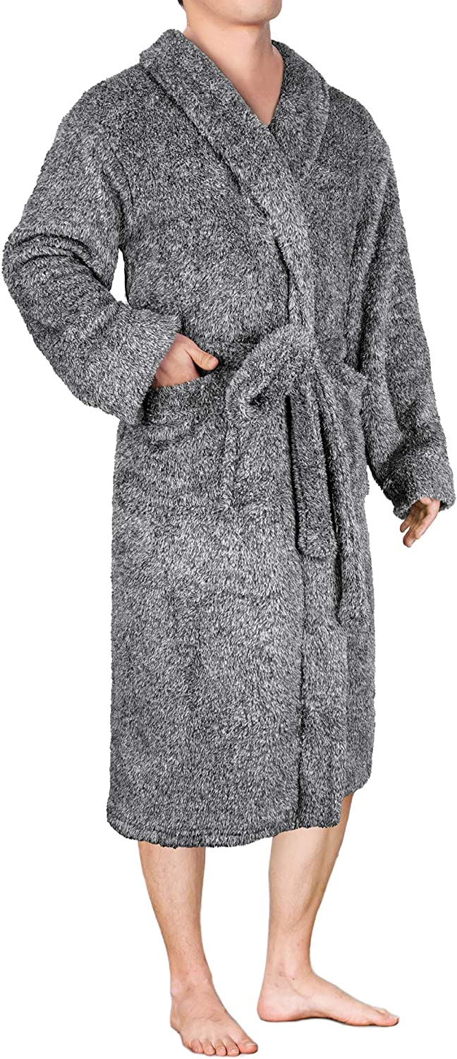 Mens Plush Fleece Robe with Shawl Collar | Soft, Warm, Lightweight Spa Bath  Robe at Amazon Men's Clothing store