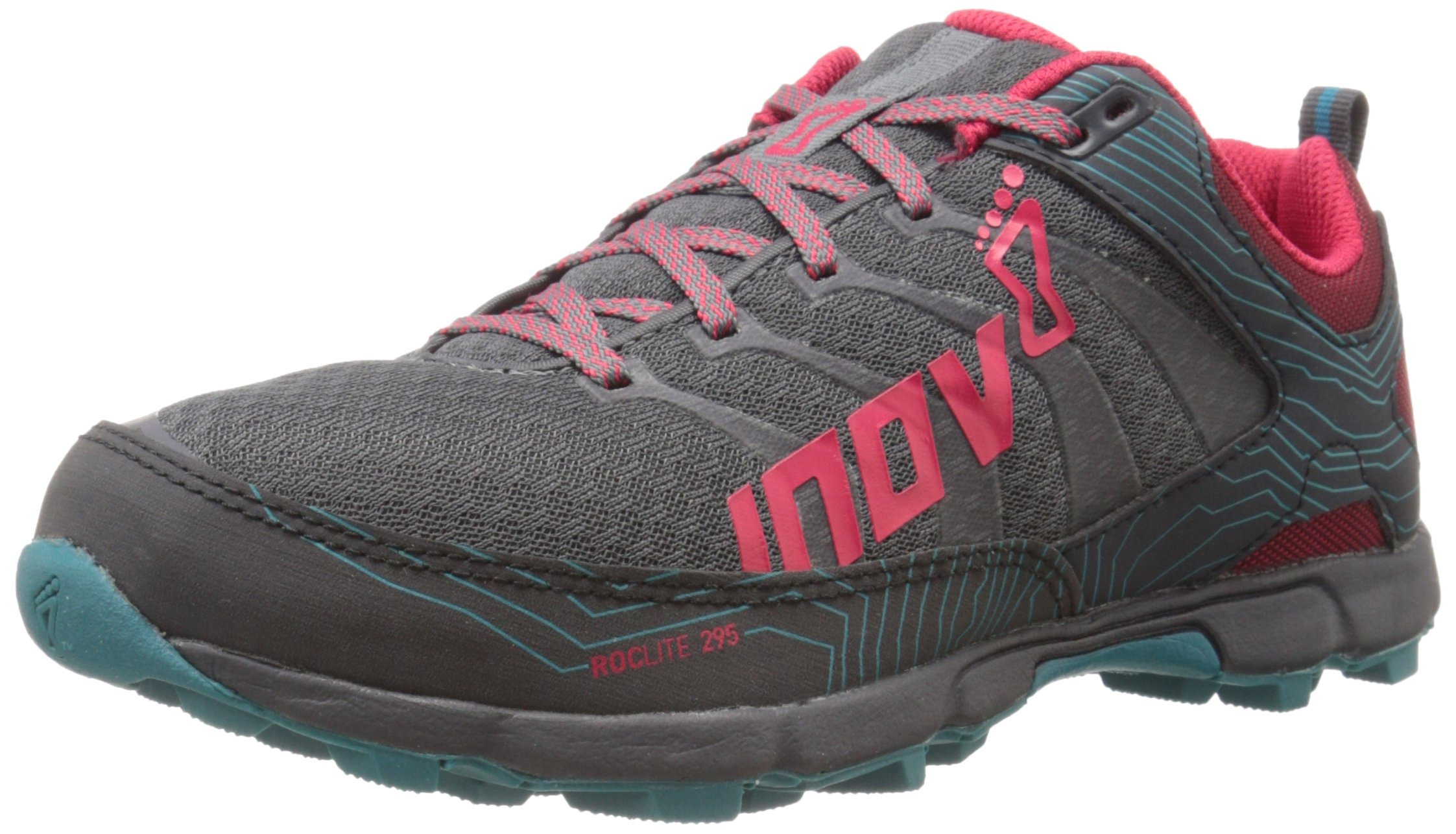 Inov-8 Women's Roclite 295 Trail Running Shoe, Grey/Berry/Teal, 10.5 B US
