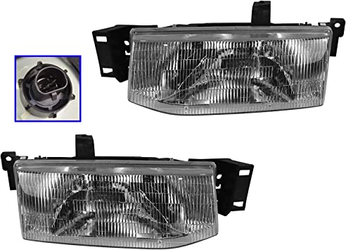 Headlights Headlamps Left /& Right Pair Set NEW for 92-96 Ford Econoline Van
