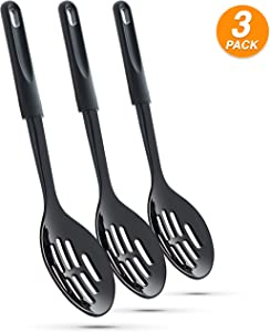 Ram Pro kitchen Slotted Spoons for Cooking Made of Heat Resistant Nylon with Plastic Handle Ideal for use with Non-Stick Pots and Pans - Black (Pack Of 3)