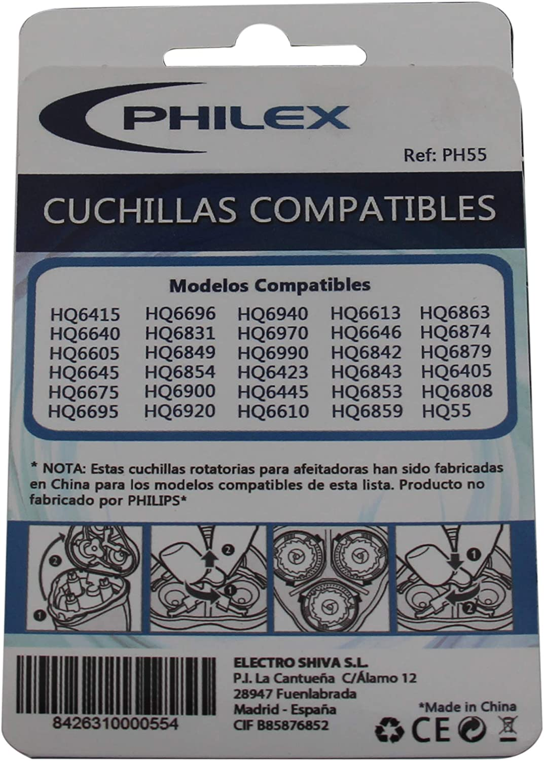 Philex PH-55 - Cuchillas compatibles Philips series 6000 y 6600: Amazon.es: Salud y cuidado personal