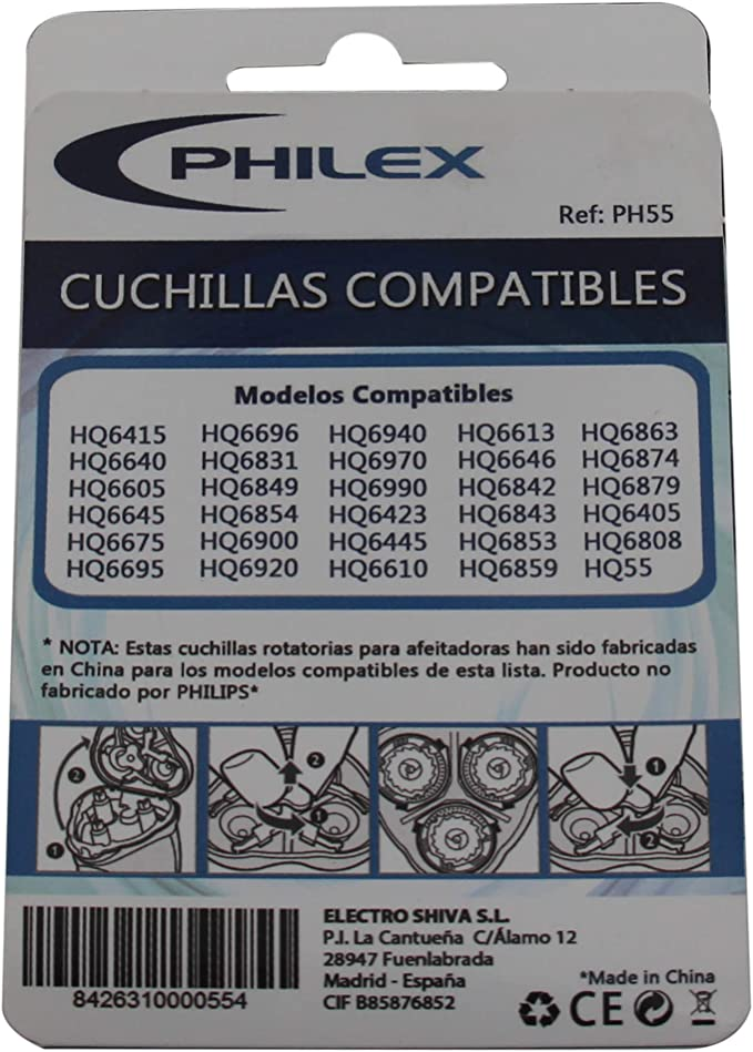 Philex PH-55 - Cuchillas compatibles Philips series 6000 y 6600 ...