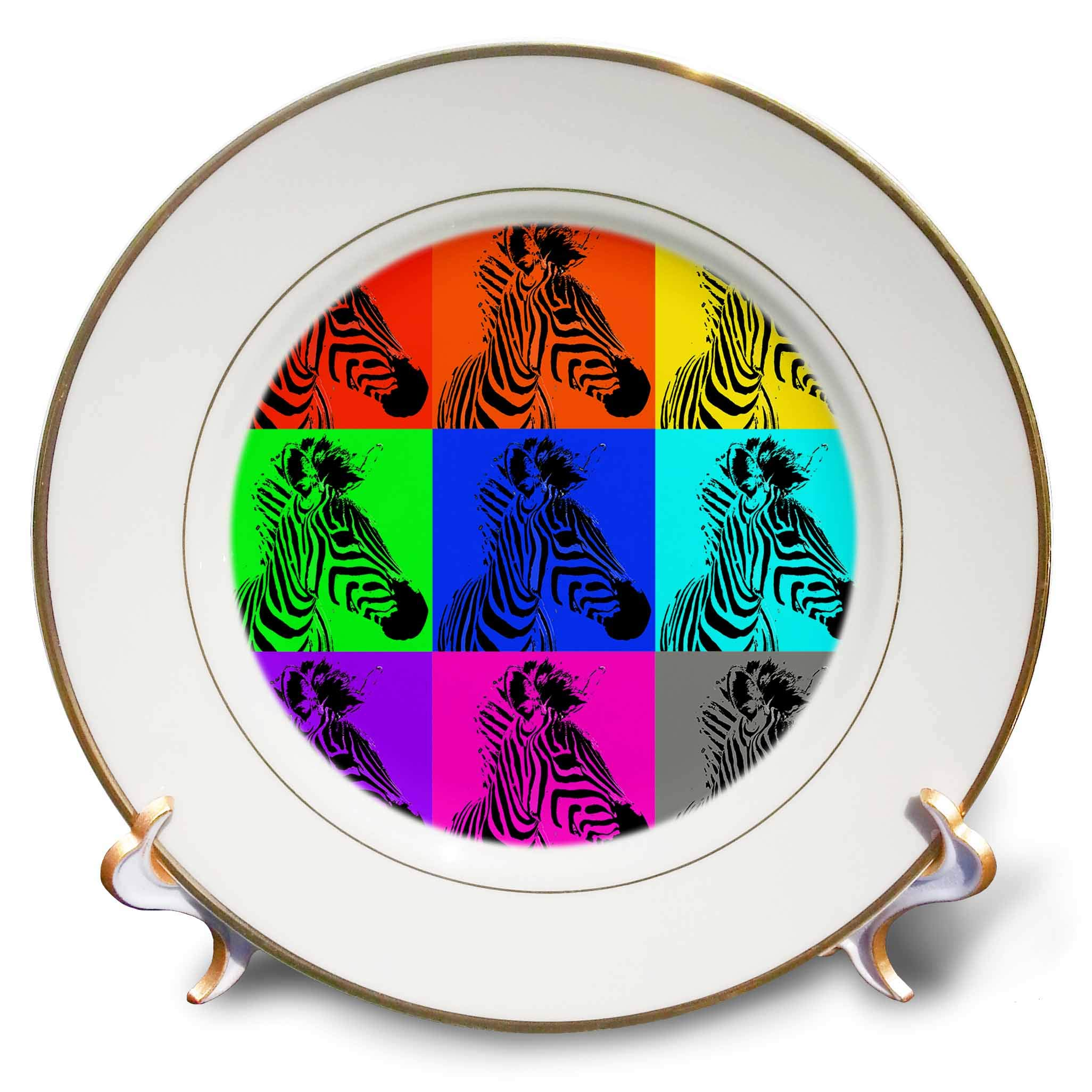 3dRose Stamp City - Animals - Photograph of a Zebra Changed into Many 8 inch Porcelain Plate (cp_295312_1)