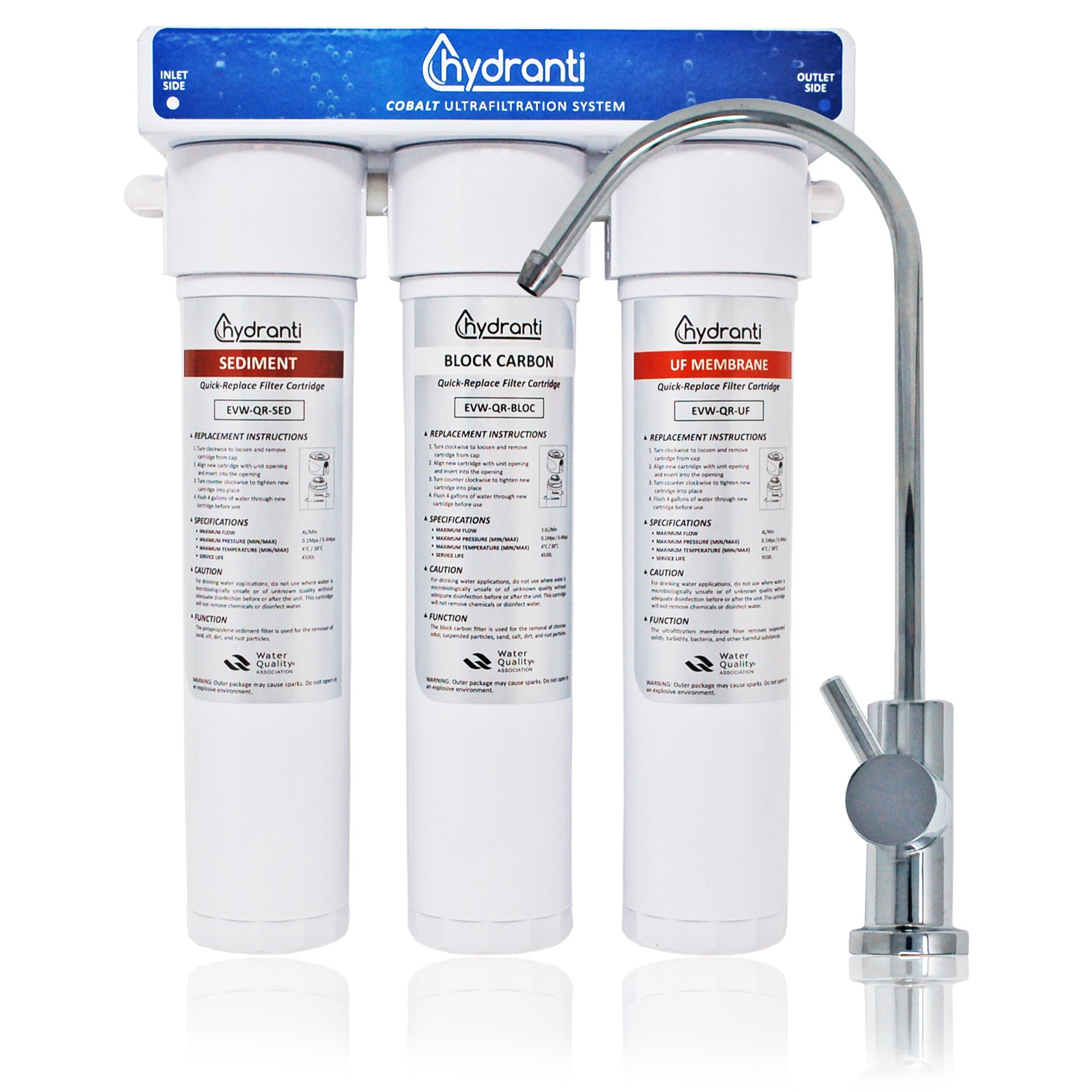 Hydranti Cobalt 3-Stage UF Under Sink Water Filtration System with 3 Cartridges - Home or Office Water Purification System - Chrome Faucet Design – Quick Installation Kit