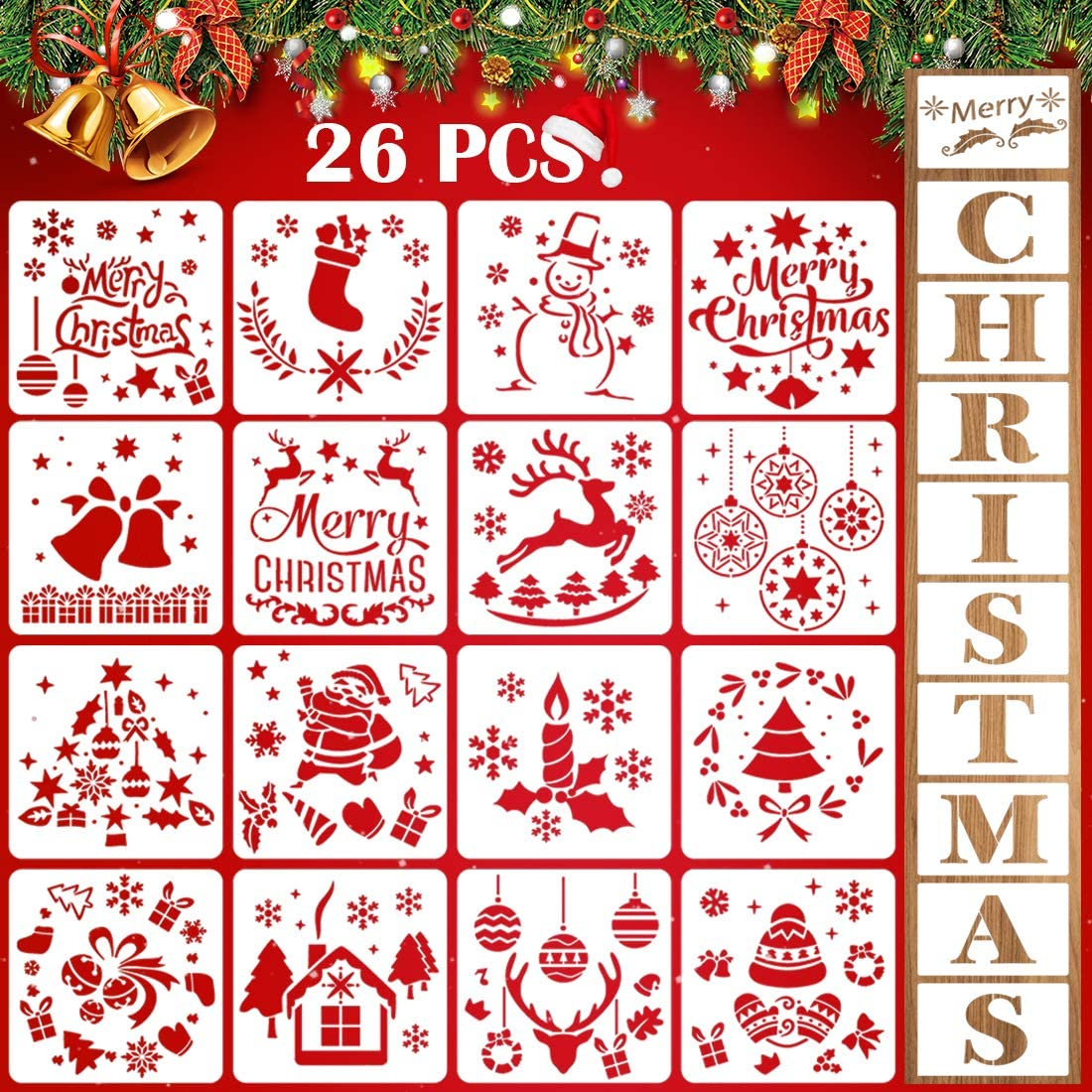 26 PCS Christmas Stencils for Painting On Wood Reusable Plastic Sign Stencils Template Art Supplies for Drawing Spraying Porch Window Diary Cards Door Furniture Wall Floor Decor