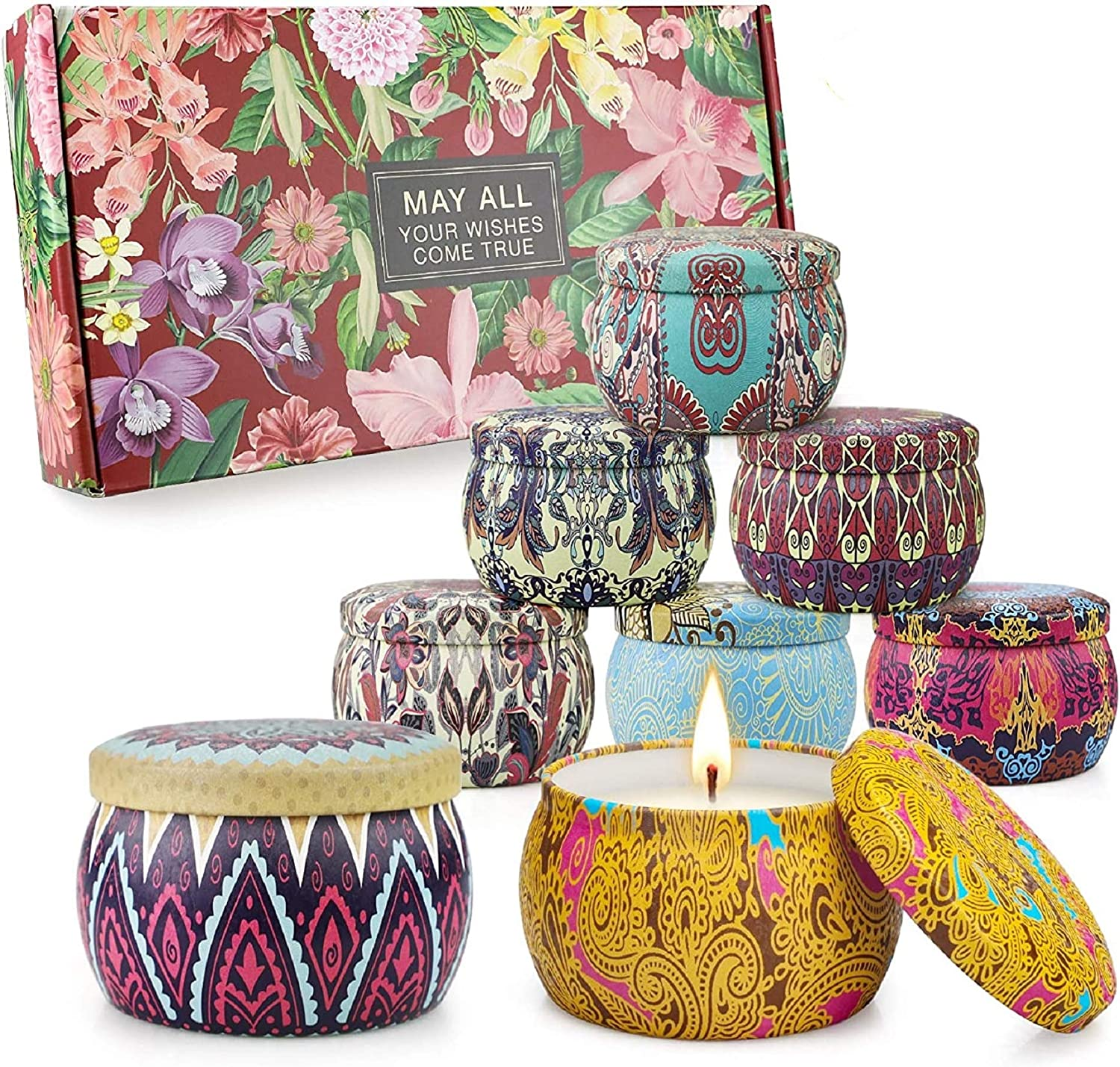 8 Pack Scented Candles Gifts Set for Women,Aromatherapy Candles for Home ,Soy Wax Portable Lid Tin Large 4.4 oz Thanksgiving Gifts Set for Yoga Birthday Gifts for Her