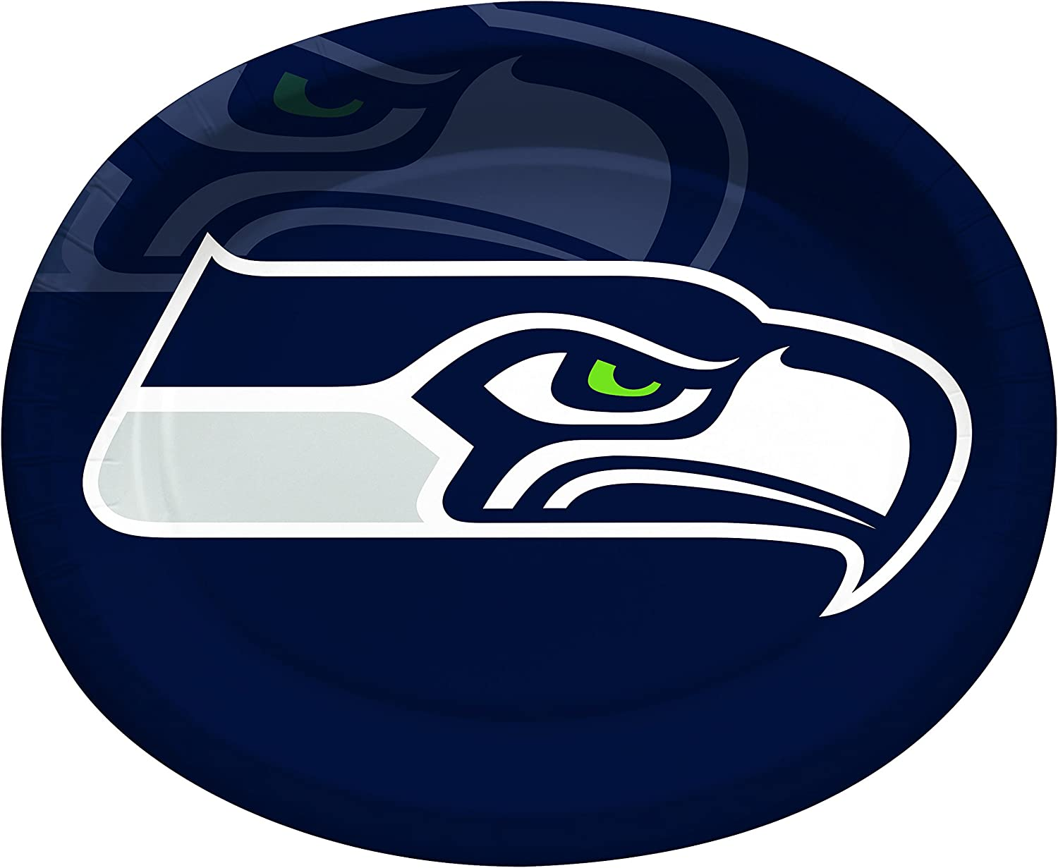 Creative Converting Officially Licensed NFL Oval Paper Platters, 8-Count, Seattle Seahawks