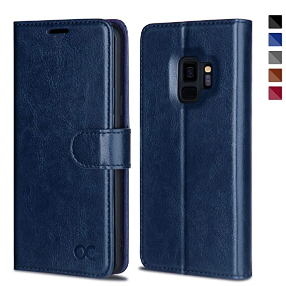 pretty nice b4cba b5db1 OCASE Samsung Galaxy S9 Case Leather Flip Wallet Case for Samsung Galaxy S9  Devices (Blue)