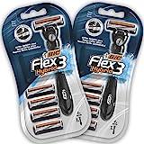 BIC Flex3 Hybrid Kit Rasoio da Uomo Monouso - Confezione da 2 Manici e 8 Lame