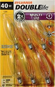 SYLVANIA Home Lighting 18749 Incandescent Bulb, B10-40W, Double Life, Clear Finish, Candelabra Base, Pack of 6