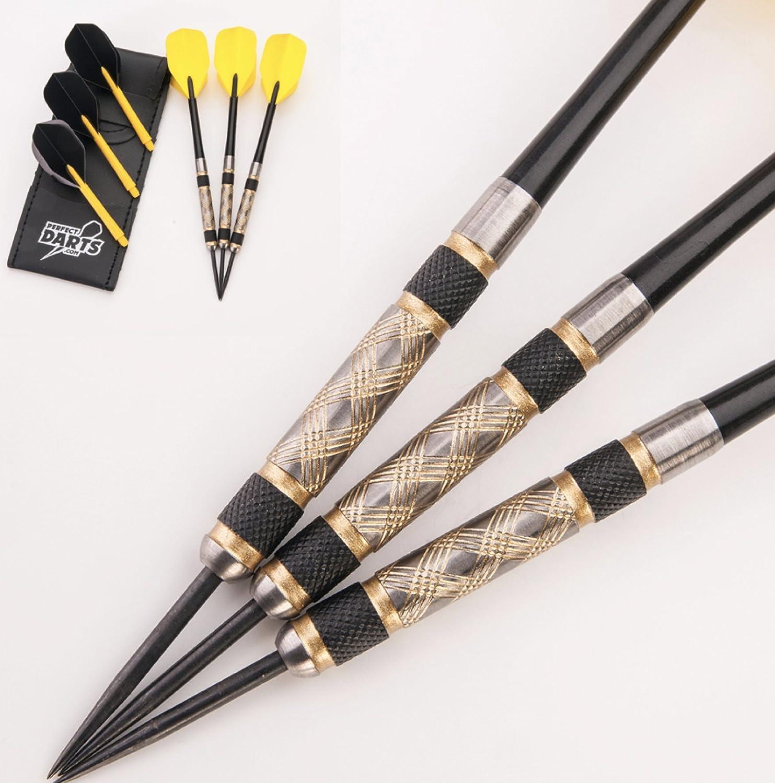 PerfectDarts 32g NODOR Gold DUST Darts Set 6 Stems PD CASE 6 RAW100 Tough Flights