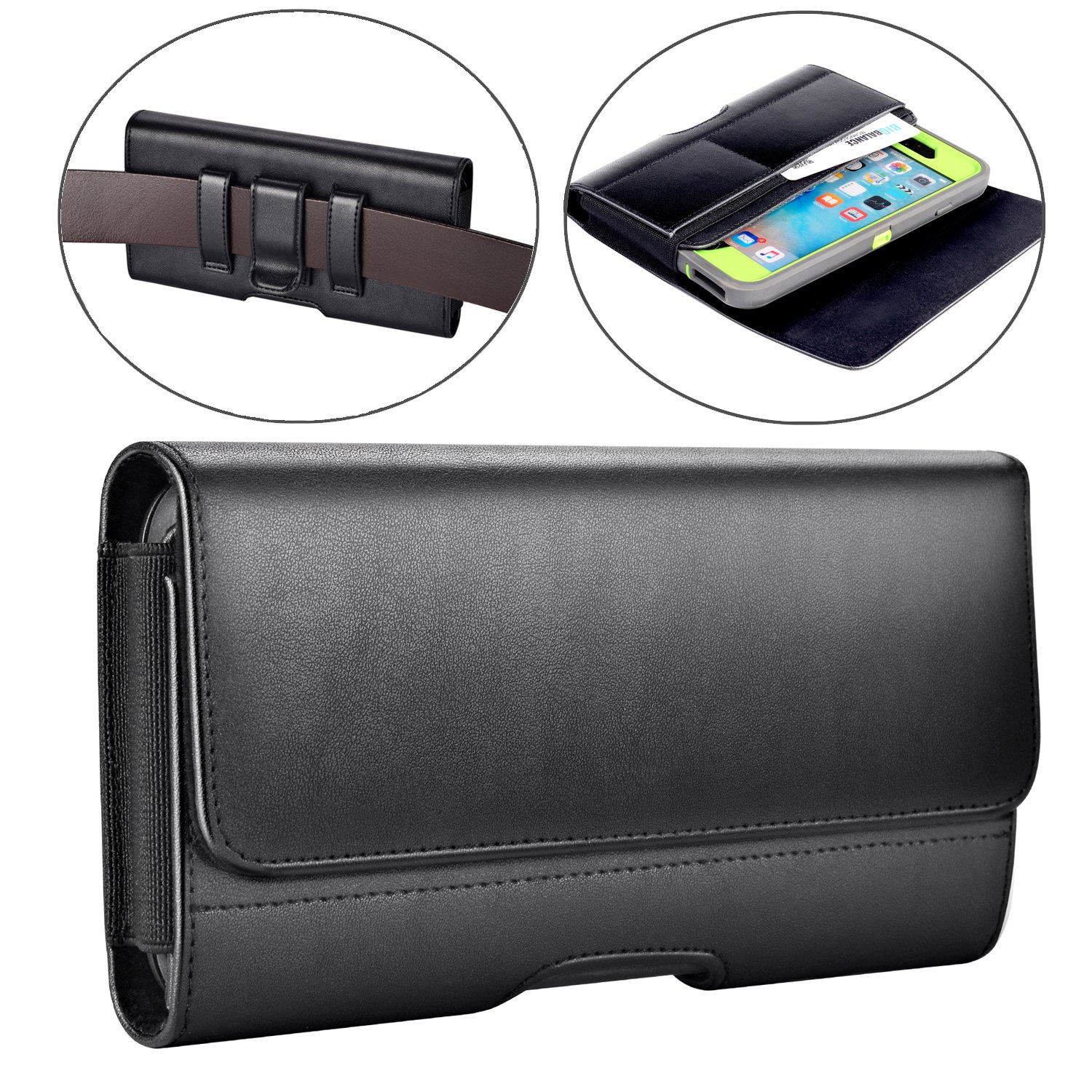 iPhone 8 Plus Holster, iPhone 7 Plus Belt Clip Case,Leather Holster Pouch Case with ID Card Holder for iPhone 6 Plus 6s Plus 8 Plus (Fits with Otterbox Defender case/Lifeproof Case/ Battery Case On)