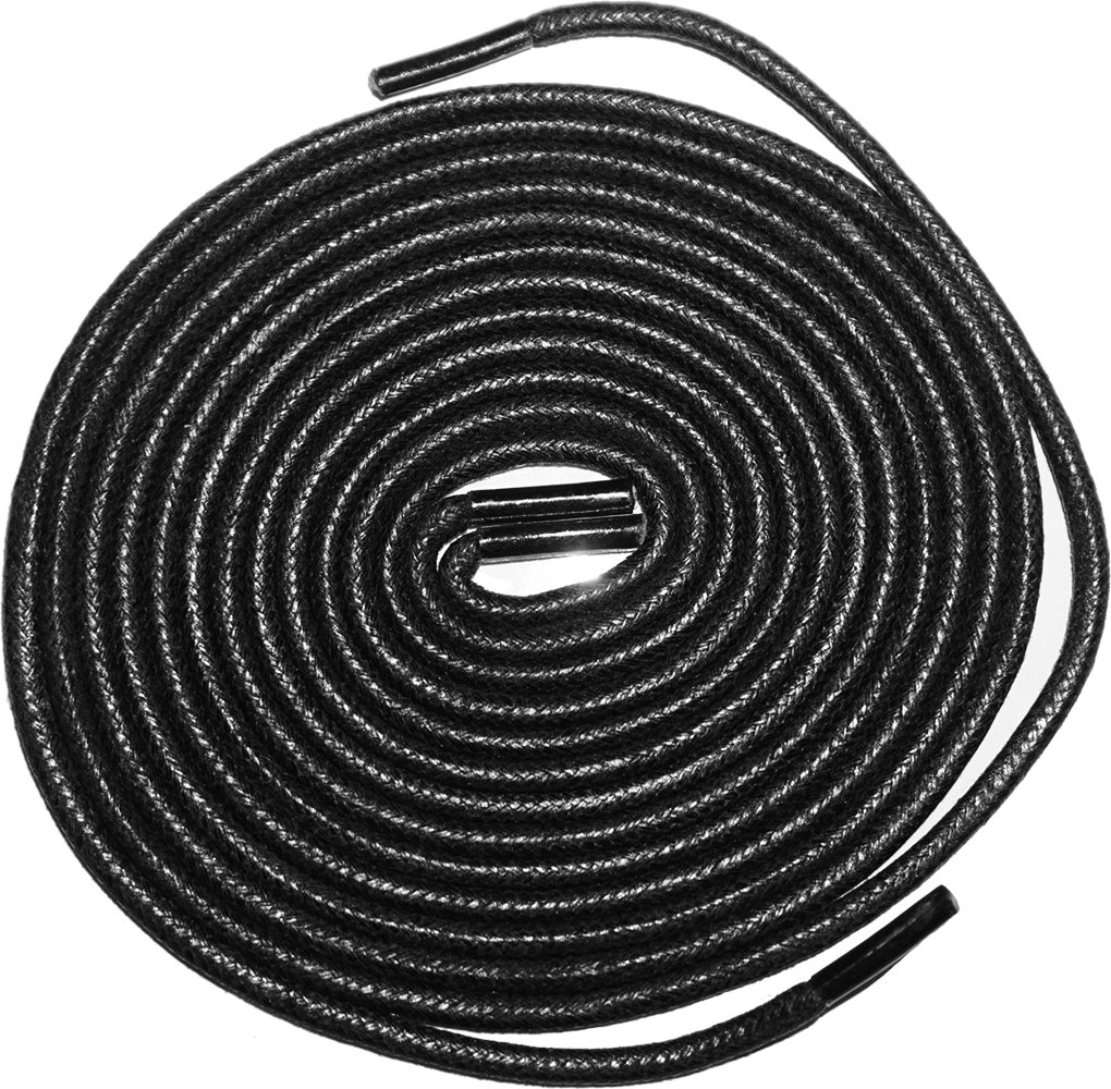 Shoeslulu 47'' Premium Round Waxed Canvas Shoelaces Bootlaces (47 in. (120 cm) Pack of 2, Midnight Black)