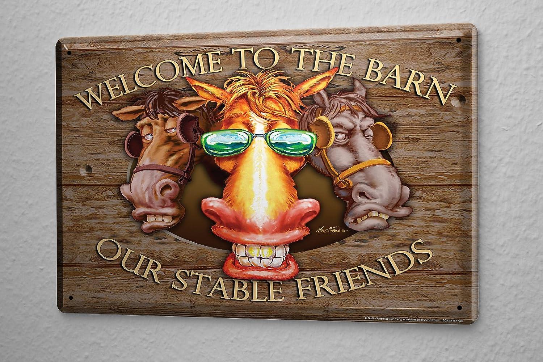 Plaque /Émaill/ée Signe D/écoratif Signes Dr/ôles Amis vaches grange lunettes de soleil AmUSAnt Enseigne En M/étal 20X30 cm