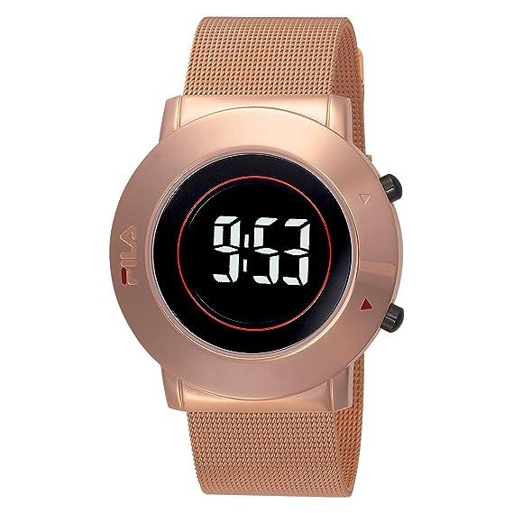 Fila Digital Retro II - Reloj digital de caballero de cuarzo con correa de oro rosa dorada: Amazon.es: Relojes
