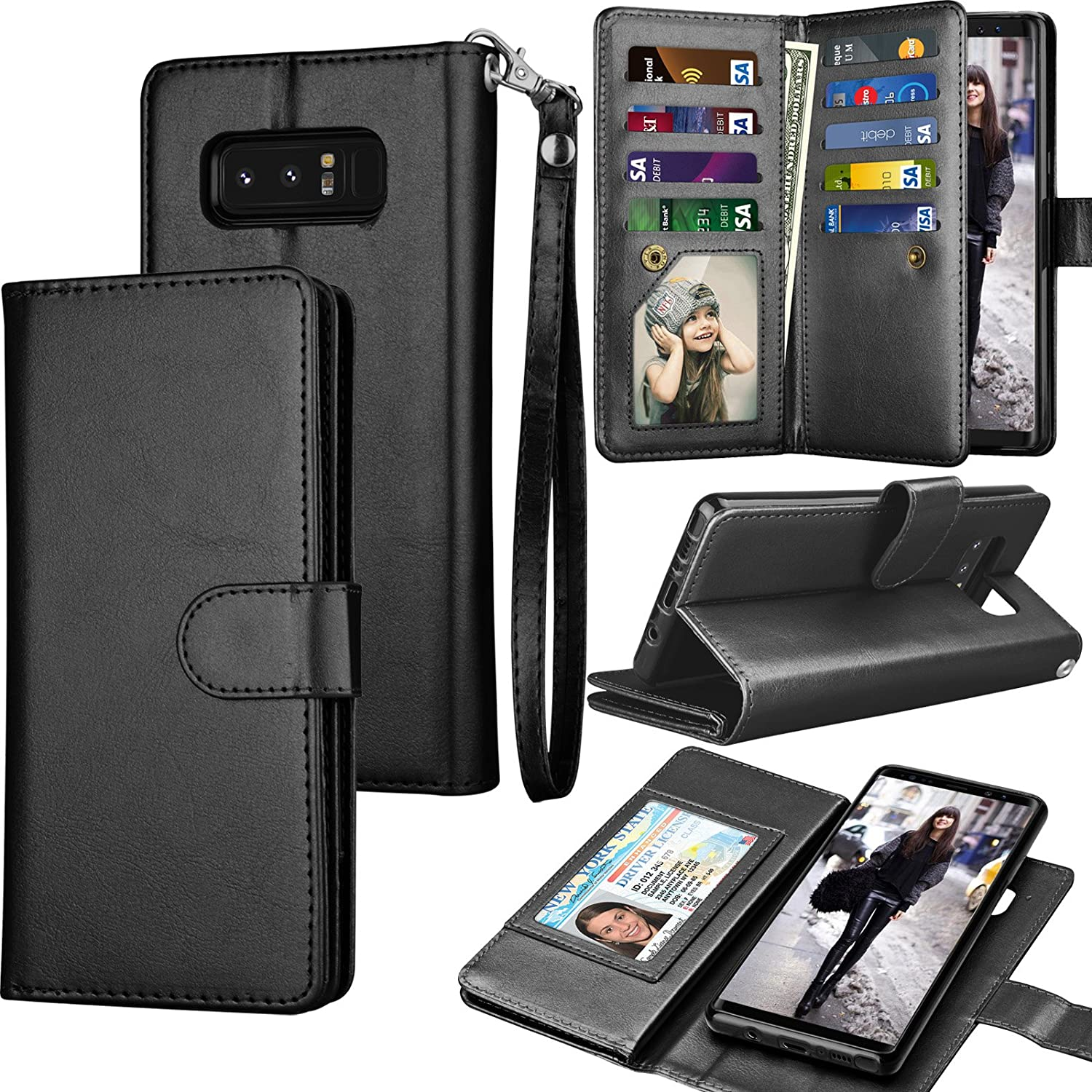new style e2014 93cfa Tekcoo Compatible for Galaxy Note 8 Wallet Case/Samsung Galaxy Note 8 PU  Leather Case, Luxury ID Cash Credit Card Slots Holder Carrying Flip Cover  ...