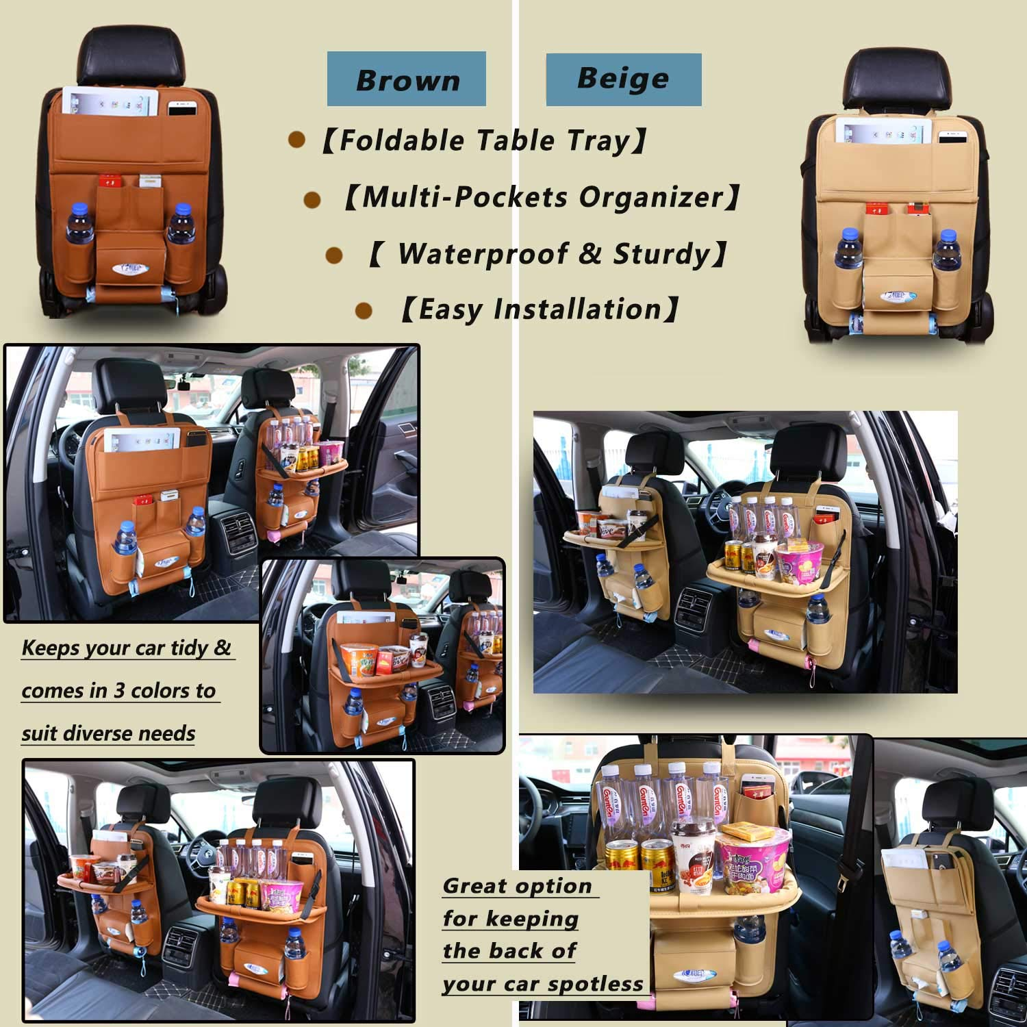 Eocean Car Backseat Protector Organize All Kids Travel Accessories Car Backseat Organizer with Leather Foldable Dining Table Tray for Baby and 10 Storage Organizers with Tablet Holder for iPad Brown
