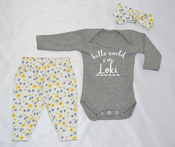 abdaf8673 Personalised Hello World I m Name Baby Vest Pants and Headband Set ...