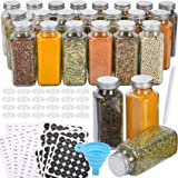 Aozita 24 Pcs Glass Spice Jars with Spice Labels - 8oz Empty Square Spice Bottles - Shaker Lids and Airtight Metal Caps - Cha