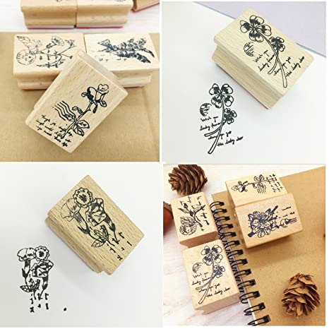 Youkwer 5pcs Cute Diy Wooden Rubber Stamps Diary Scrapbooking Stamps
