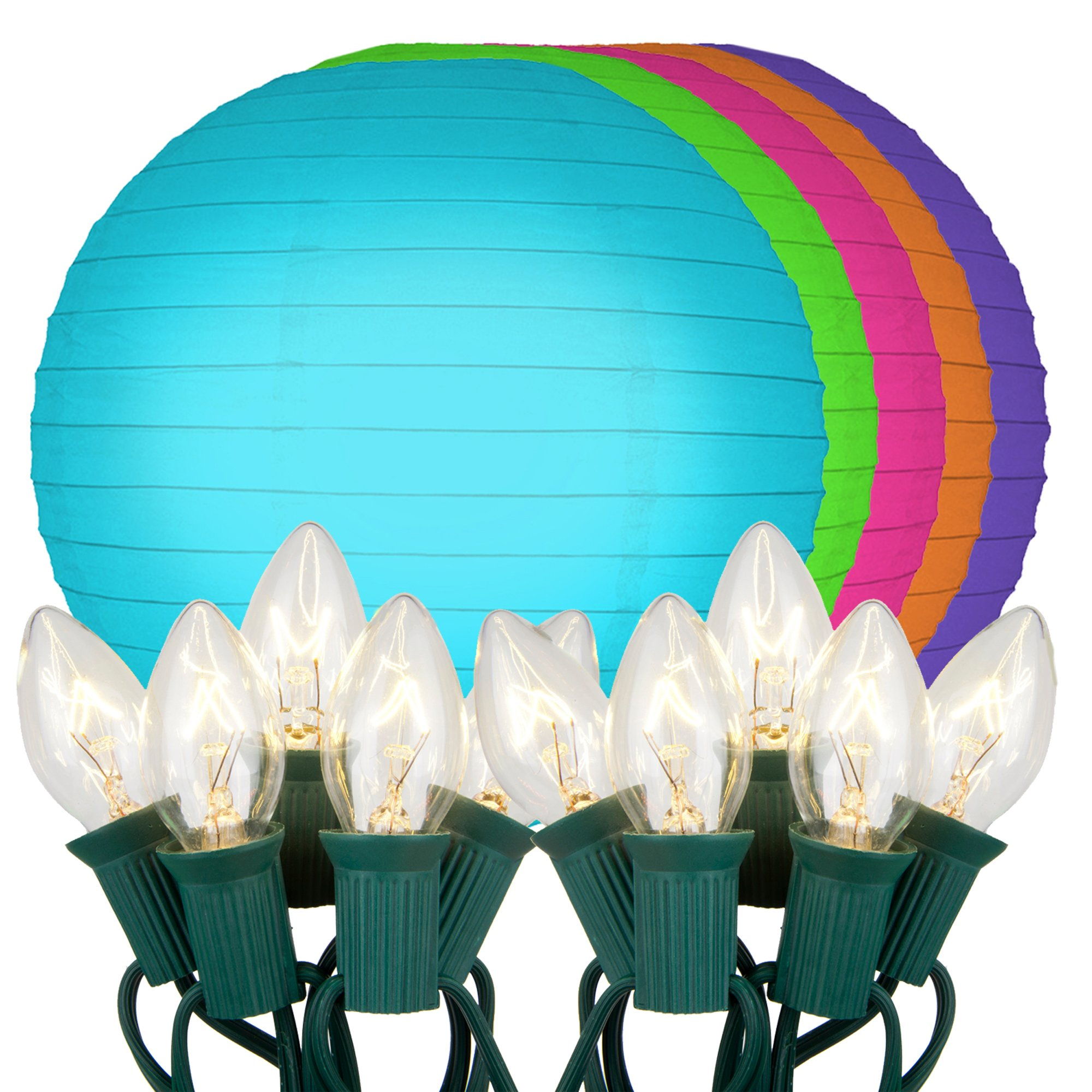 Lumabase 24910 10 Count Electric String Lights with Paper Lanterns, 10'', Multicolor