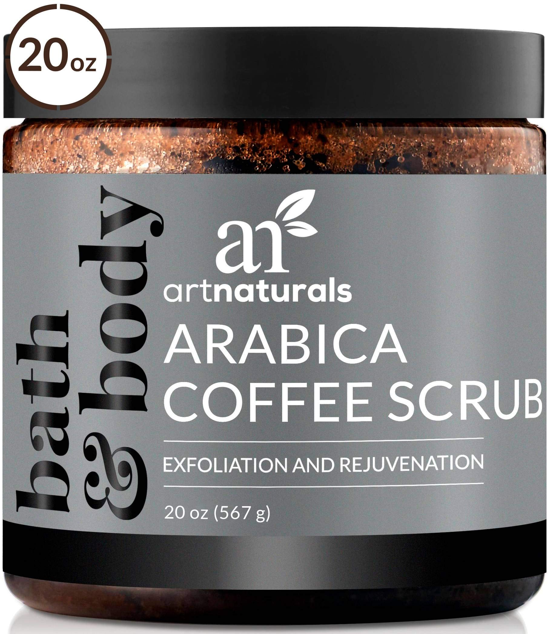 ArtNaturals Arabica Coffee Body Scrub (20 Oz / 567g) - Exfoliating Facial Treatment for Varicose Veins, Cellulite, Stretch Marks Spider Vein - Deep Skin, Butt, legs and Face Sugar Exfoliator with Caffeine