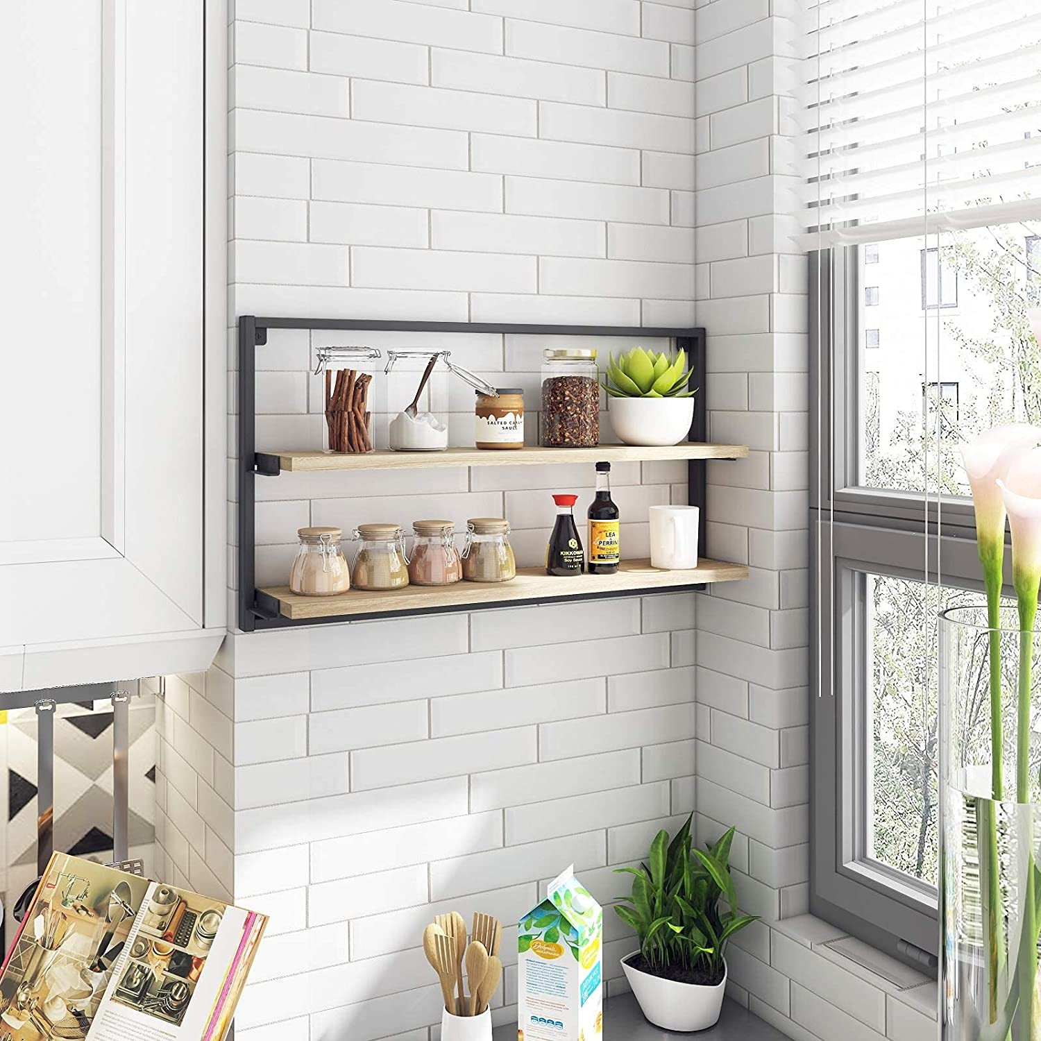 Year Color 2-Tier Floating Shelves for Bathroom/Bedroom/Kitchen/Living Room Wall Mounted Storage Shelf Organizer with Black Metal Bracket Wall Decor Display Ledge with Blackboard
