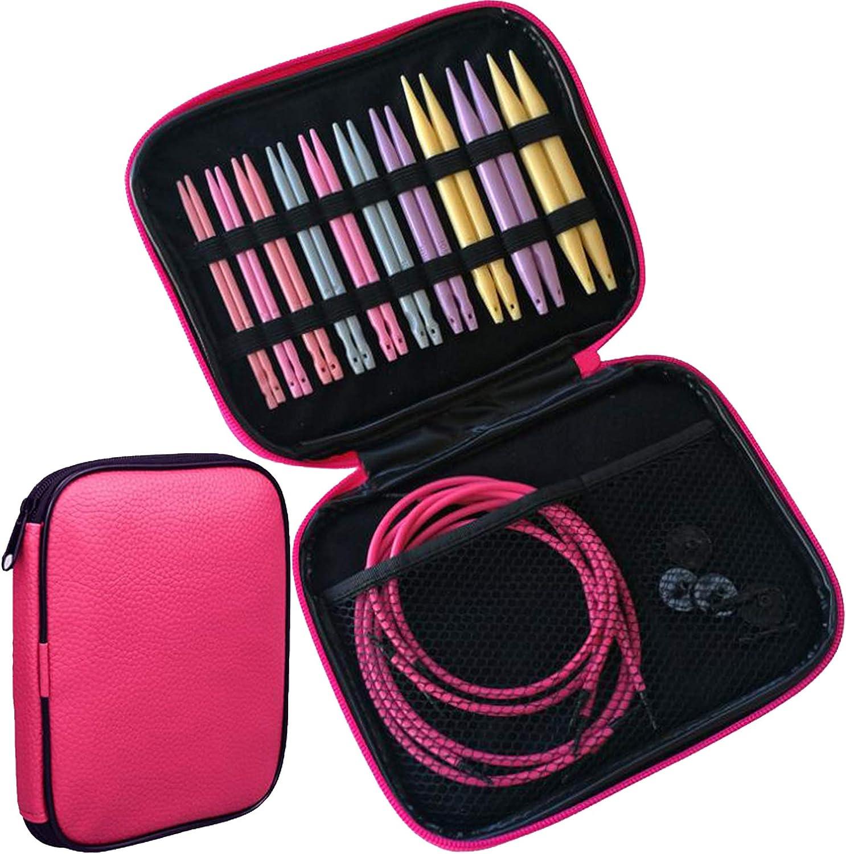 Kit de agujas de tejer circulares de 3,75 a 10 mm, agujas de punto intercambiables con estuche de almacenamiento con cremallera, 10 tamaños: Amazon.es: Hogar