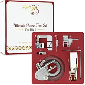 Madam Sew Big 5 Presser Foot Set - 5 Specialized Presser Feet in Deluxe Numbered Storage Case with Printed Booklet, Tutorial DVD and Bonus Low Shank Snap-On Adapter