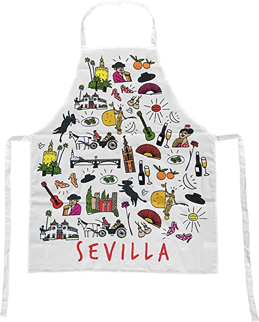 Delantal Blanco de Cocina con Tela de Algodón Souvenir con Motivos ...
