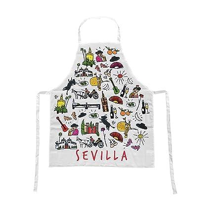 Delantal Blanco 100% Algodón Souvenir con Motivos Típicos de Sevilla Andalucia España. Delantales para