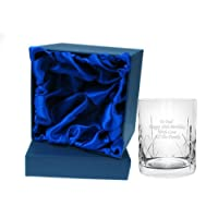 Personalised Crystal Whisky Whiskey Tumbler in silk giftbox cr2
